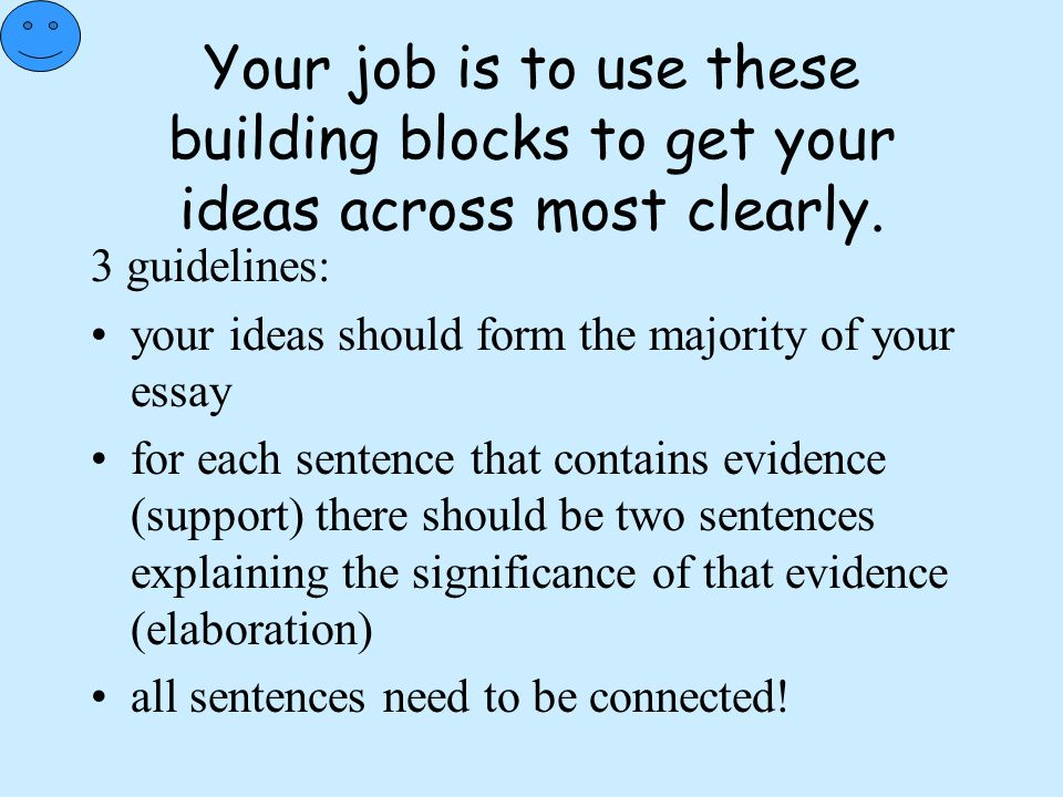 Your job is to use these building blocks to get your ideas across most clearly. 3 guidelines: your ideas should form the majority of your essay for ea