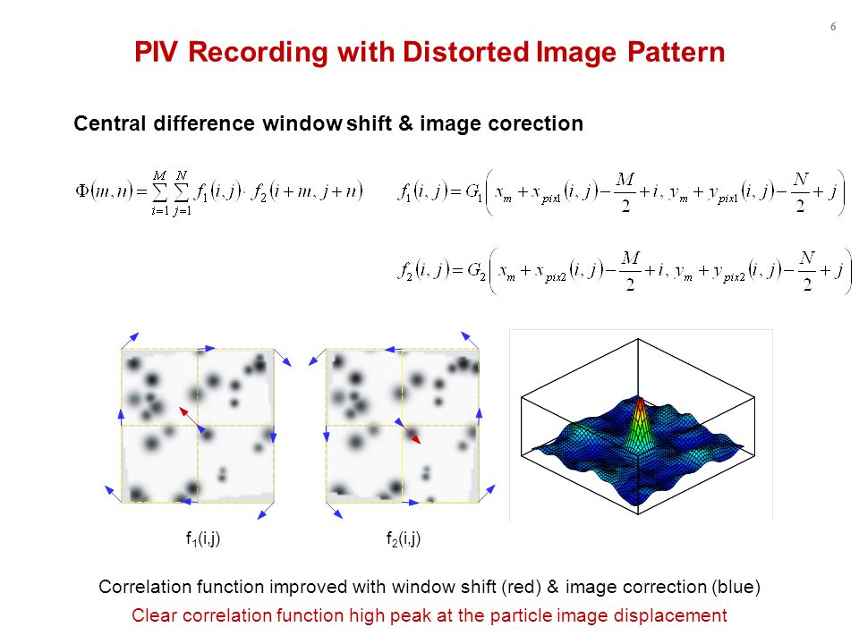 Central difference window shift & image corection PIV Recording with Distorted Image Pattern Clear correlation function high peak at the particle image displacement f 1 (i,j) f 2 (i,j) Correlation function improved with window shift (red) & image correction (blue) 6