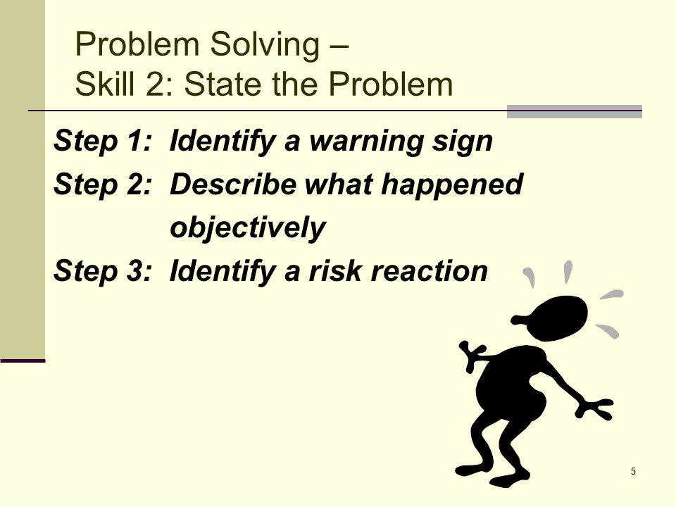 5 Step 1: Identify a warning sign Step 2: Describe what happened objectively Step 3: Identify a risk reaction Problem Solving – Skill 2: State the Pro