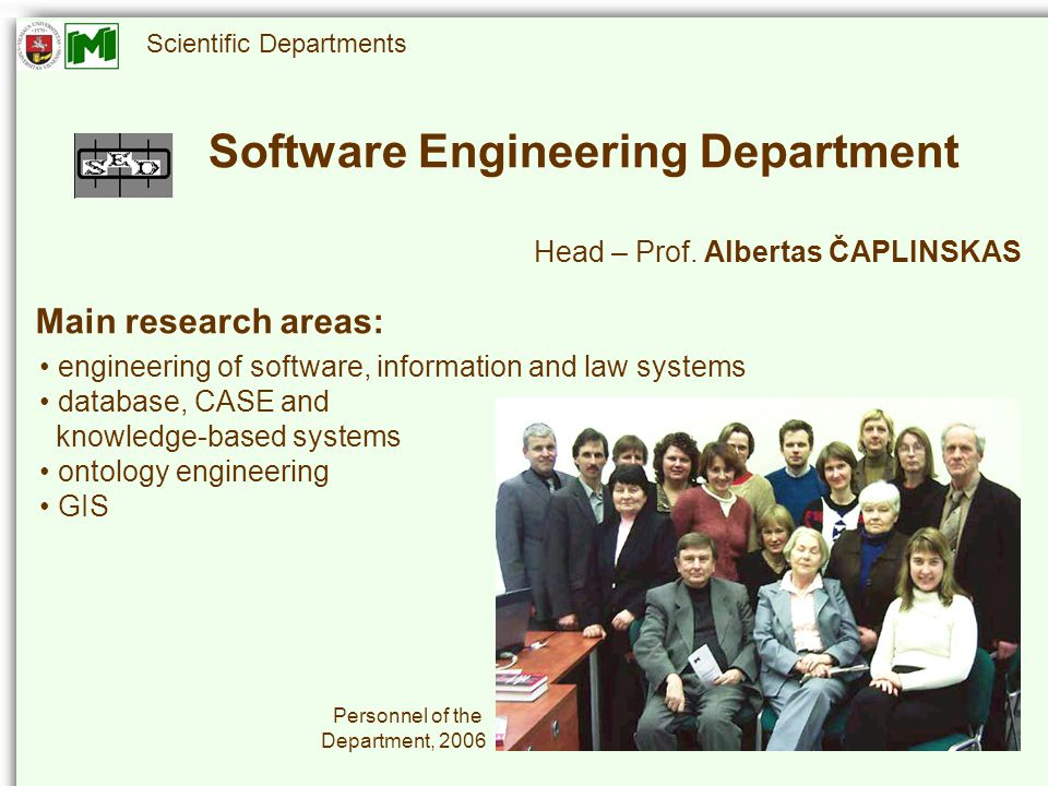 Scientific Departments Head – Prof.