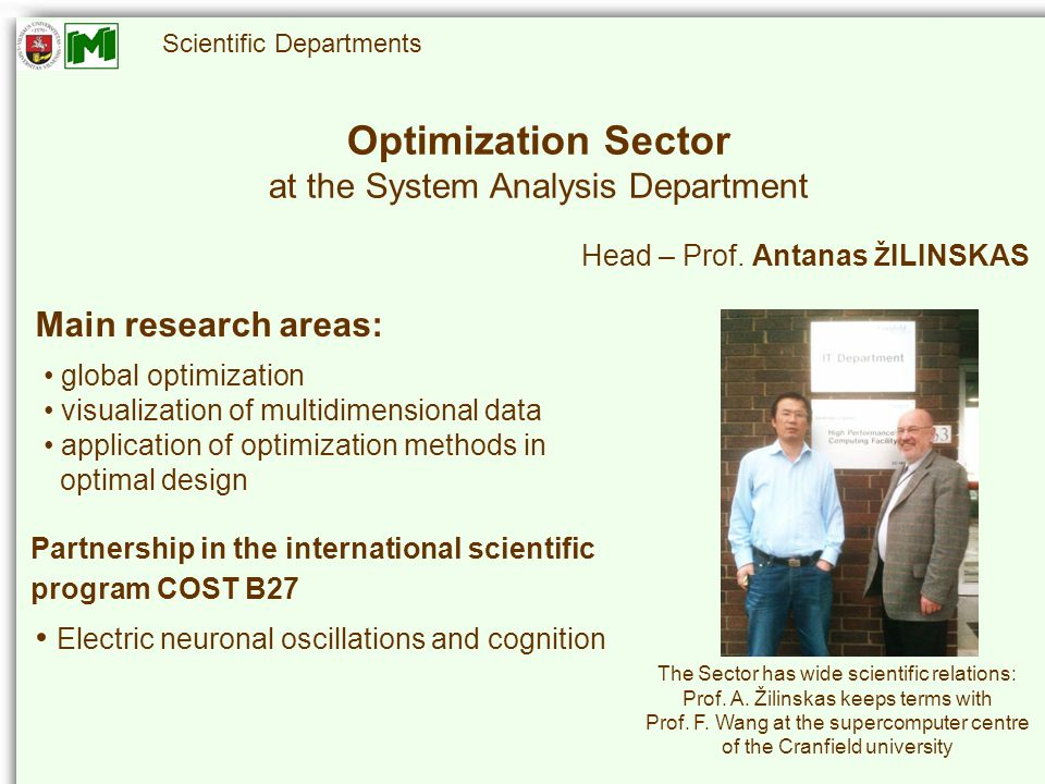 Scientific Departments Optimization Sector at the System Analysis Department Head – Prof.