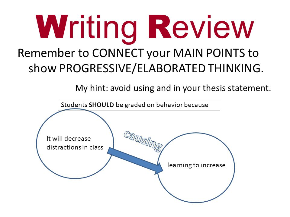 W riting R eview Remember to CONNECT your MAIN POINTS to show PROGRESSIVE/ELABORATED THINKING.