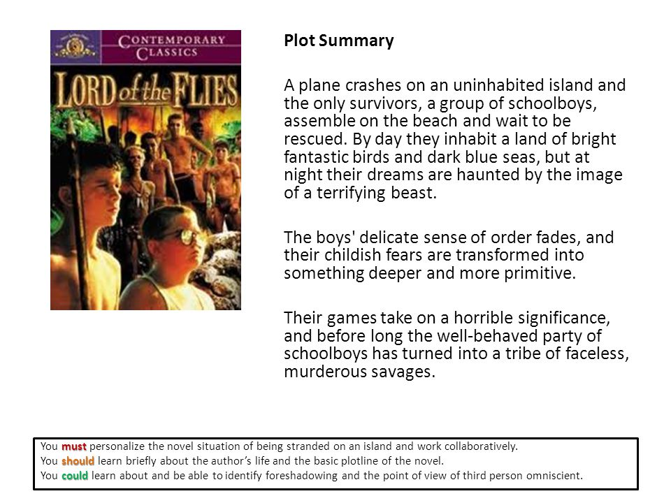 Plot Summary A plane crashes on an uninhabited island and the only survivors, a group of schoolboys, assemble on the beach and wait to be rescued.