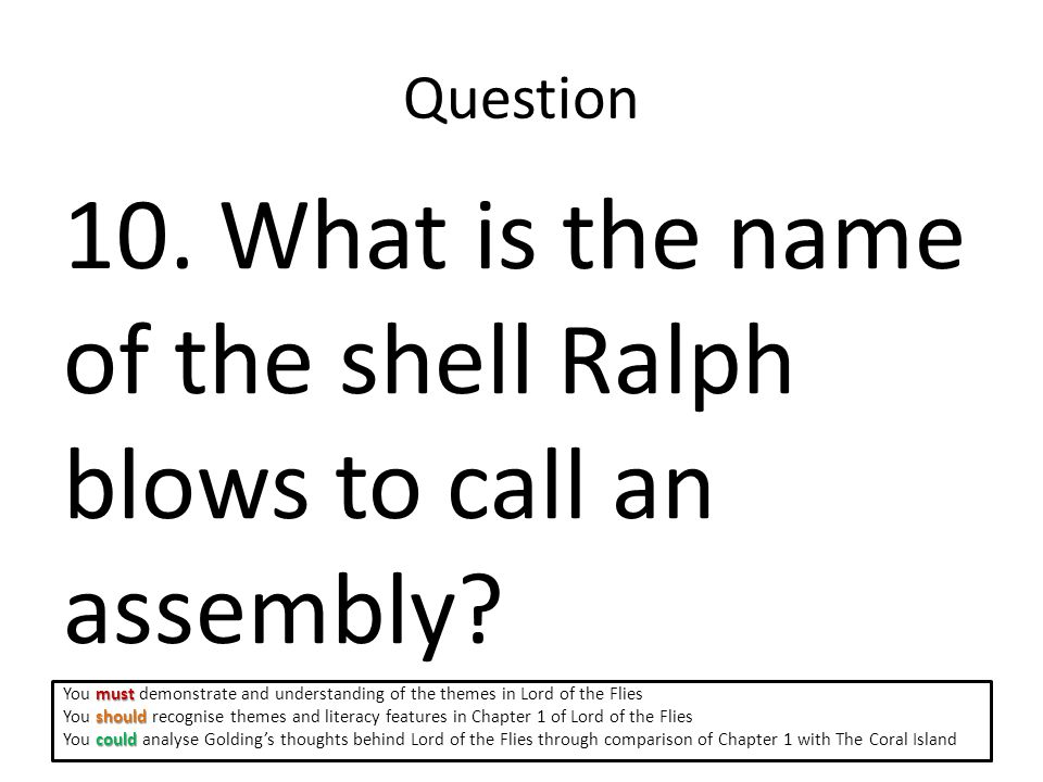 Question 10.What is the name of the shell Ralph blows to call an assembly.