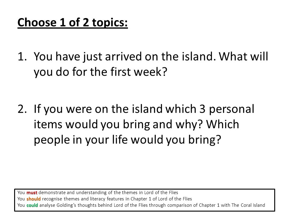 Choose 1 of 2 topics: 1.You have just arrived on the island.