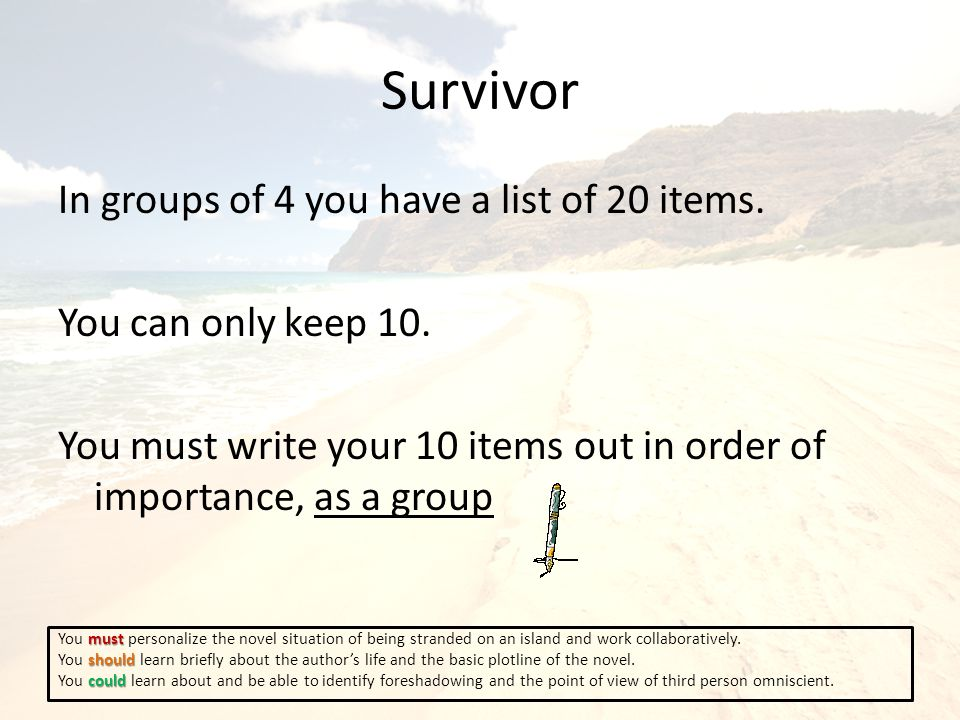 Survivor In groups of 4 you have a list of 20 items.