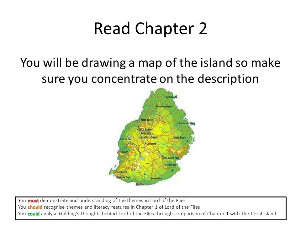 Read Chapter 2 You will be drawing a map of the island so make sure you concentrate on the description must You must demonstrate and understanding of the themes in Lord of the Flies should You should recognise themes and literacy features in Chapter 1 of Lord of the Flies could You could analyse Golding's thoughts behind Lord of the Flies through comparison of Chapter 1 with The Coral Island
