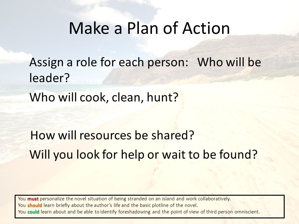 Make a Plan of Action Assign a role for each person: Who will be leader.