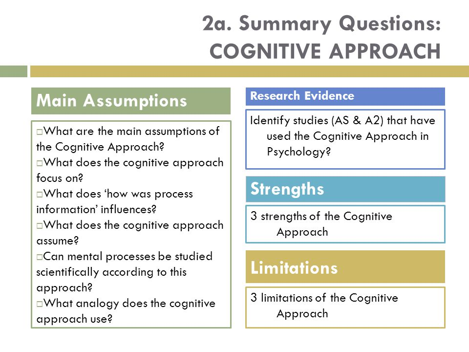 2a. Summary Questions: COGNITIVE APPROACH  What are the main assumptions of the Cognitive Approach?  What does the cognitive approach focus on?  Wh