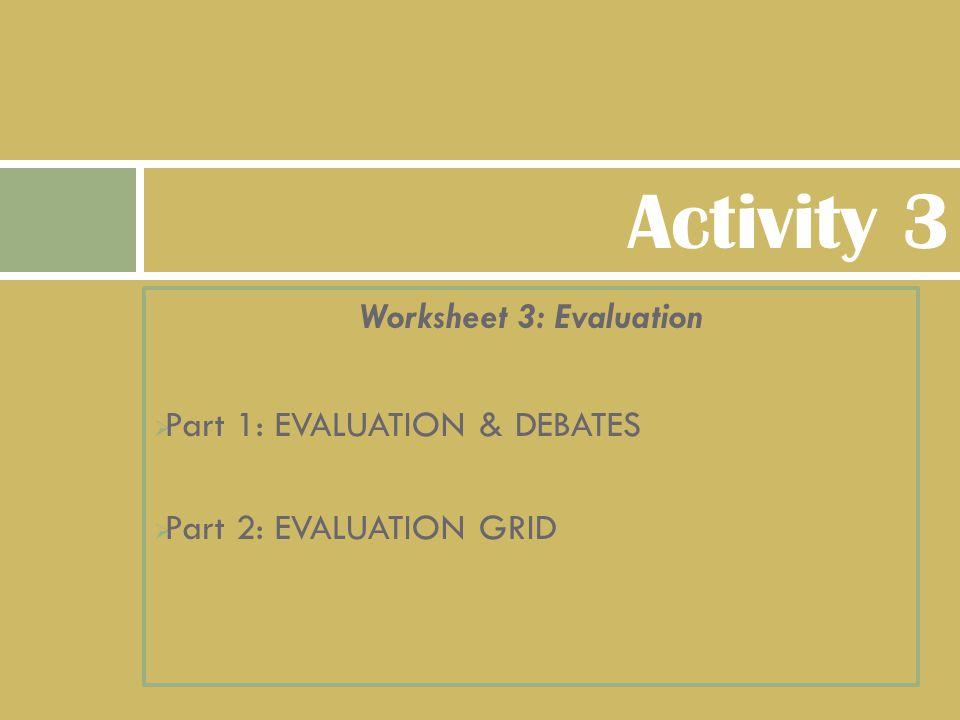Worksheet 3: Evaluation  Part 1: EVALUATION & DEBATES  Part 2: EVALUATION GRID Activity 3