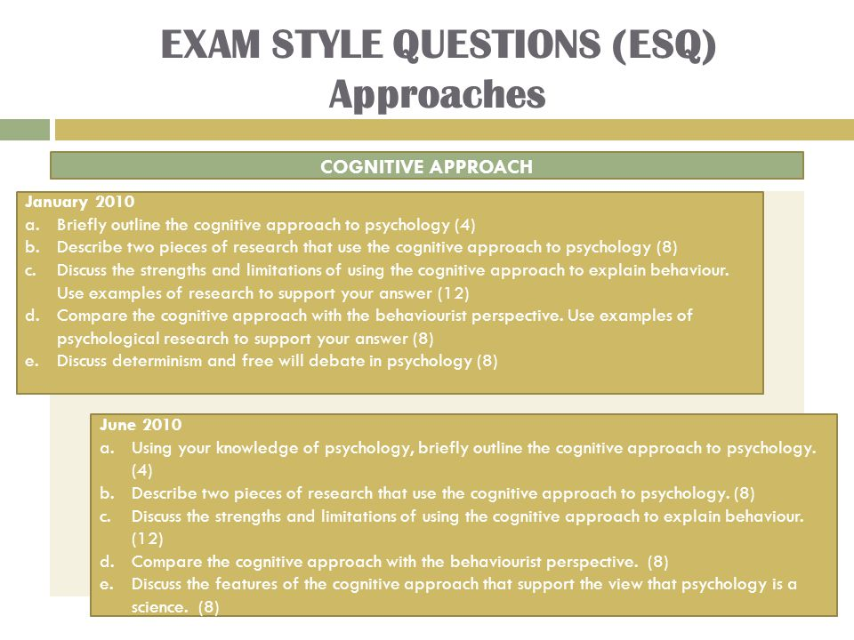 EXAM STYLE QUESTIONS (ESQ) Approaches COGNITIVE APPROACH January 2010 a.Briefly outline the cognitive approach to psychology (4) b.Describe two pieces of research that use the cognitive approach to psychology (8) c.Discuss the strengths and limitations of using the cognitive approach to explain behaviour.