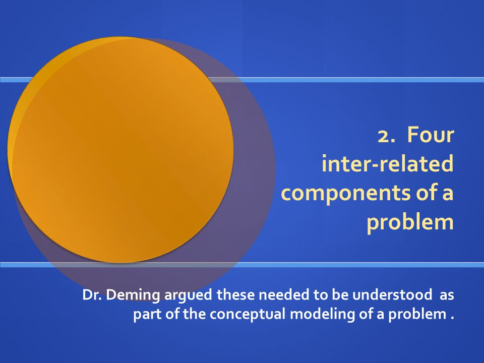 2. Four inter-related components of a problem Dr. Deming argued these needed to be understood as part of the conceptual modeling of a problem.