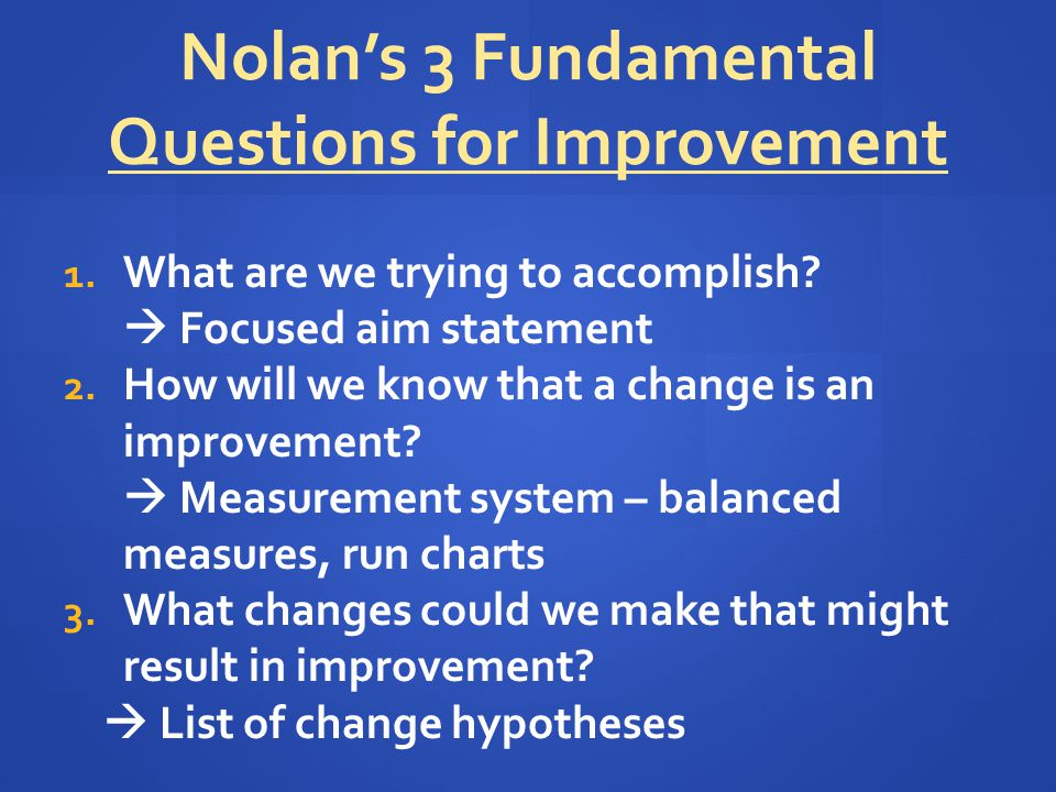 Nolan's 3 Fundamental Questions for Improvement 1. What are we trying to accomplish?  Focused aim statement 2. How will we know that a change is an i
