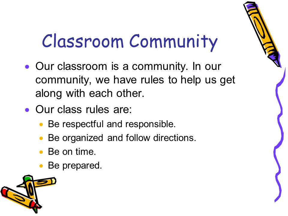 Classroom Community  Our classroom is a community.