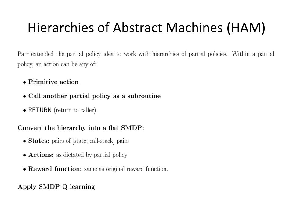 Hierarchies of Abstract Machines (HAM)