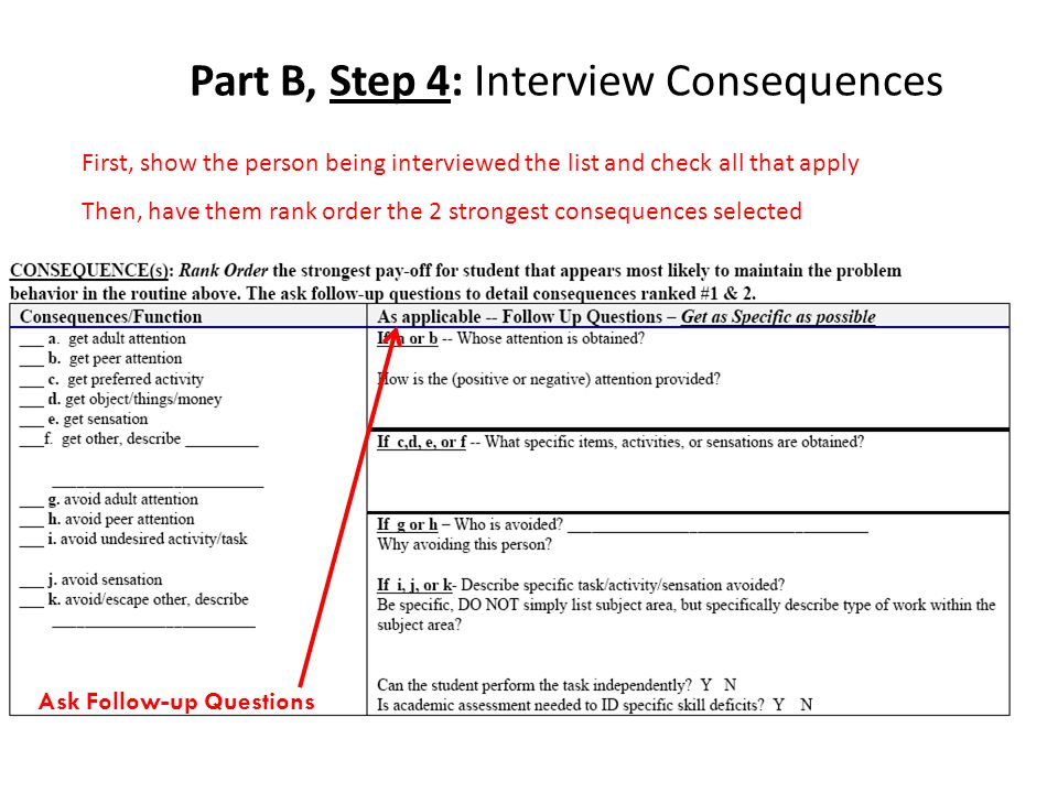 Part B, Step 4: Interview Consequences First, show the person being interviewed the list and check all that apply Then, have them rank order the 2 strongest consequences selected Ask Follow-up Questions