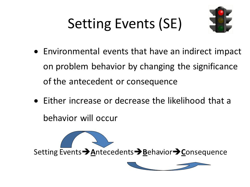 Setting Events (SE)  Environmental events that have an indirect impact on problem behavior by changing the significance of the antecedent or consequence  Either increase or decrease the likelihood that a behavior will occur Setting Events  Antecedents  Behavior  Consequence