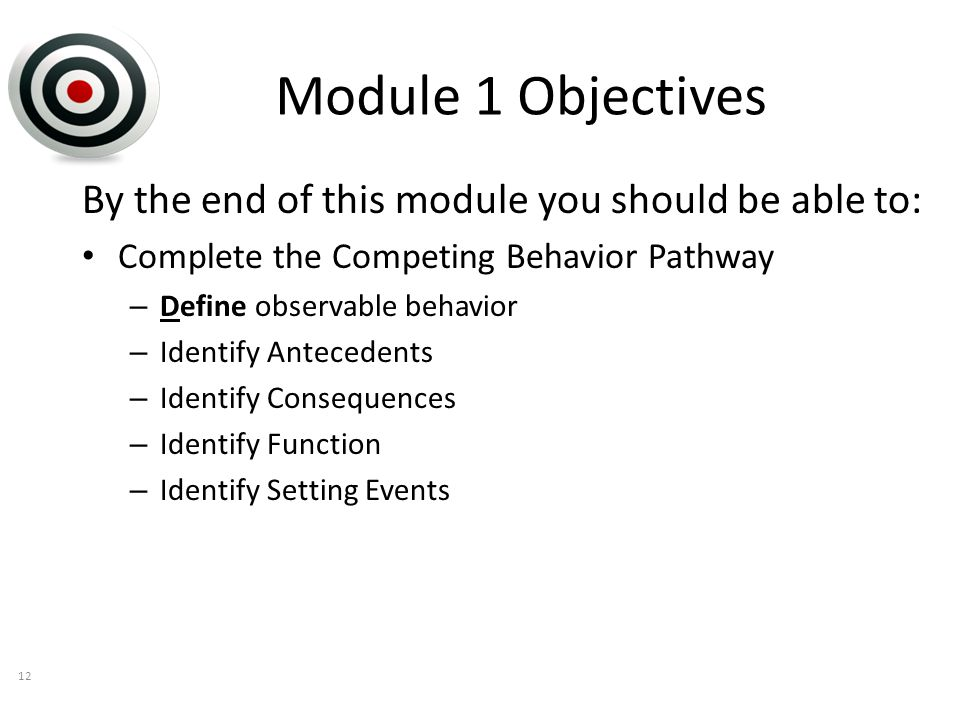 Module 1 Objectives By the end of this module you should be able to: Complete the Competing Behavior Pathway – Define observable behavior – Identify Antecedents – Identify Consequences – Identify Function – Identify Setting Events 12