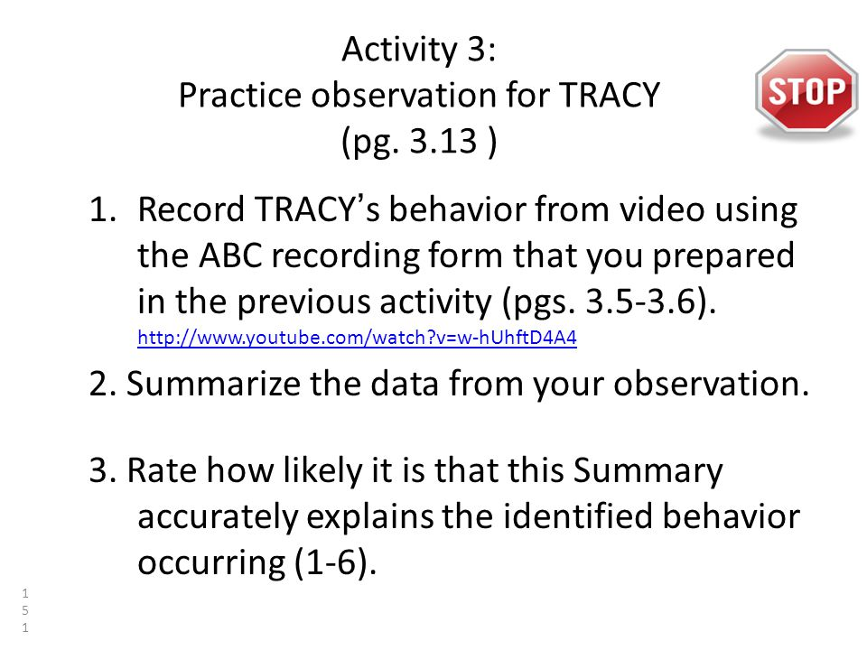 Activity 3: Practice observation for TRACY (pg.