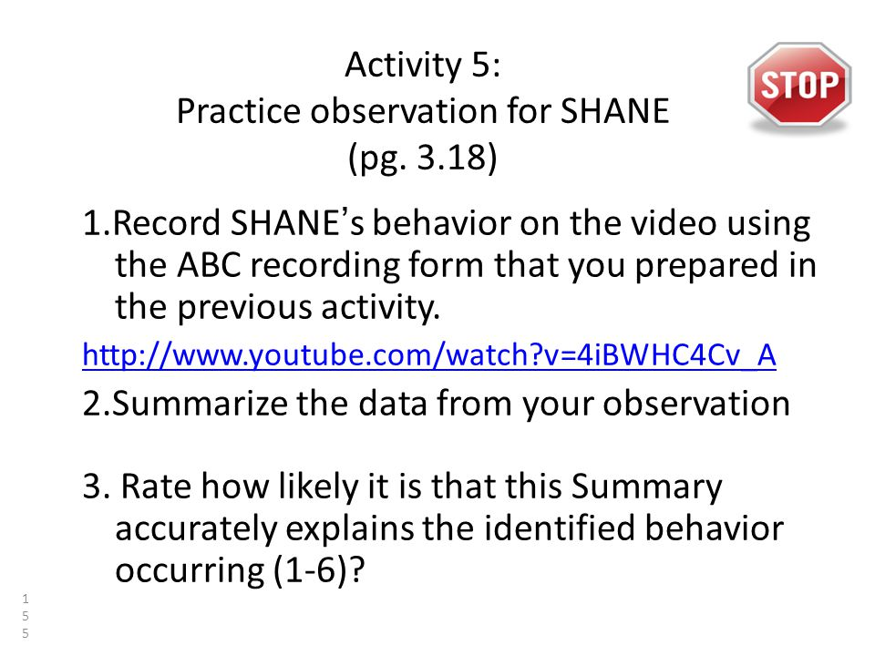 Activity 5: Practice observation for SHANE (pg.