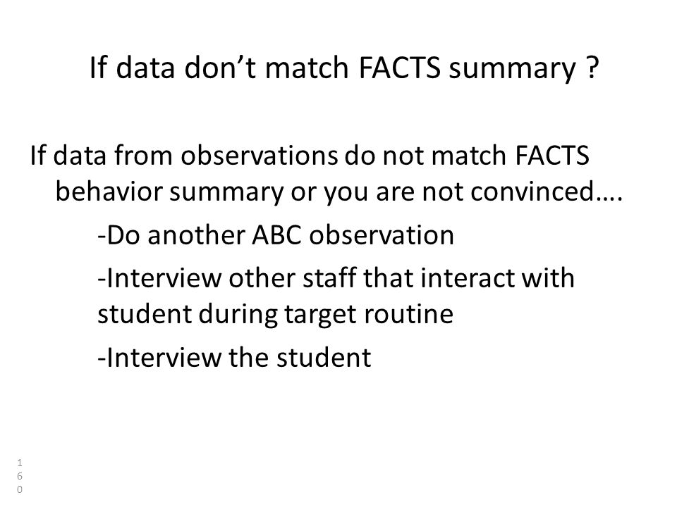 If data don't match FACTS summary .