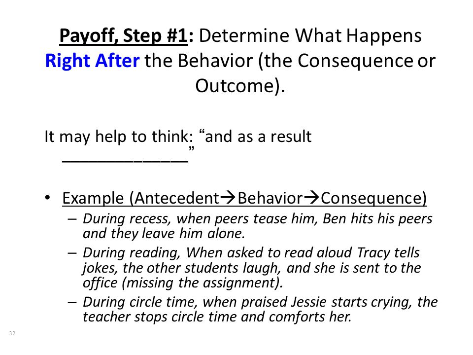 Payoff, Step #1: Determine What Happens Right After the Behavior (the Consequence or Outcome).