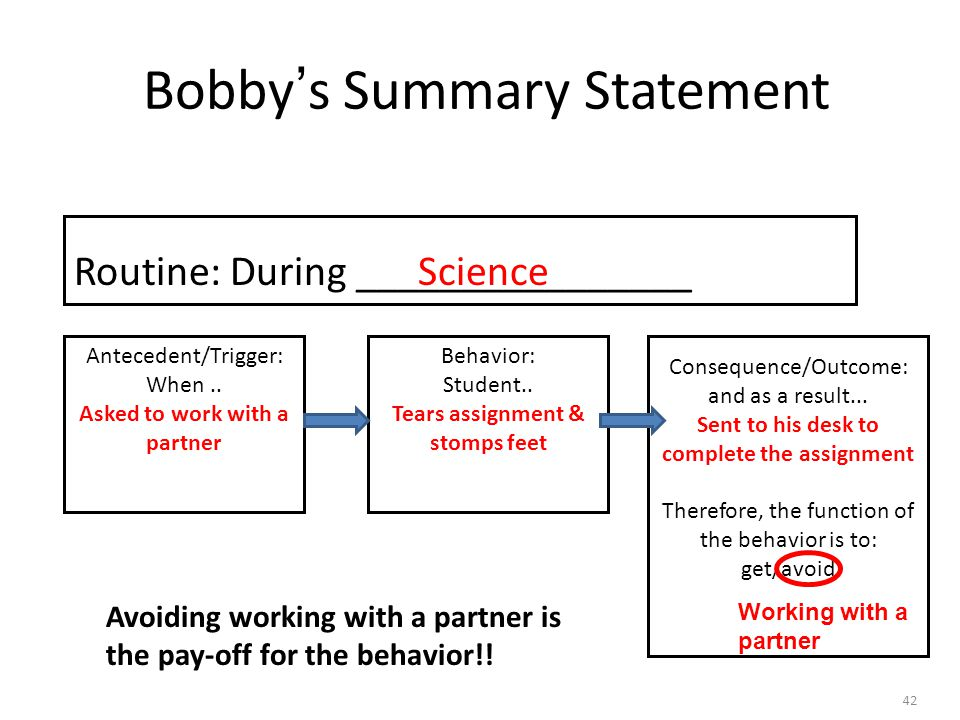 Bobby's Summary Statement 42 Consequence/Outcome: and as a result...