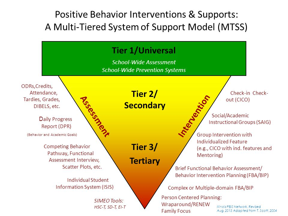 Tier 1/Universal School-Wide Assessment School-Wide Prevention Systems SIMEO Tools: HSC-T, SD-T, EI-T Check-in Check- out (CICO) Group Intervention with Individualized Feature (e.g., CICO with ind.