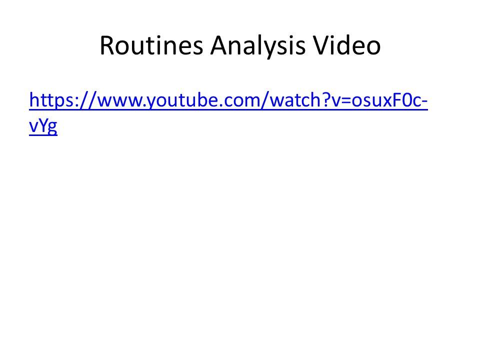 Routines Analysis Video https://www.youtube.com/watch v=osuxF0c- vYg