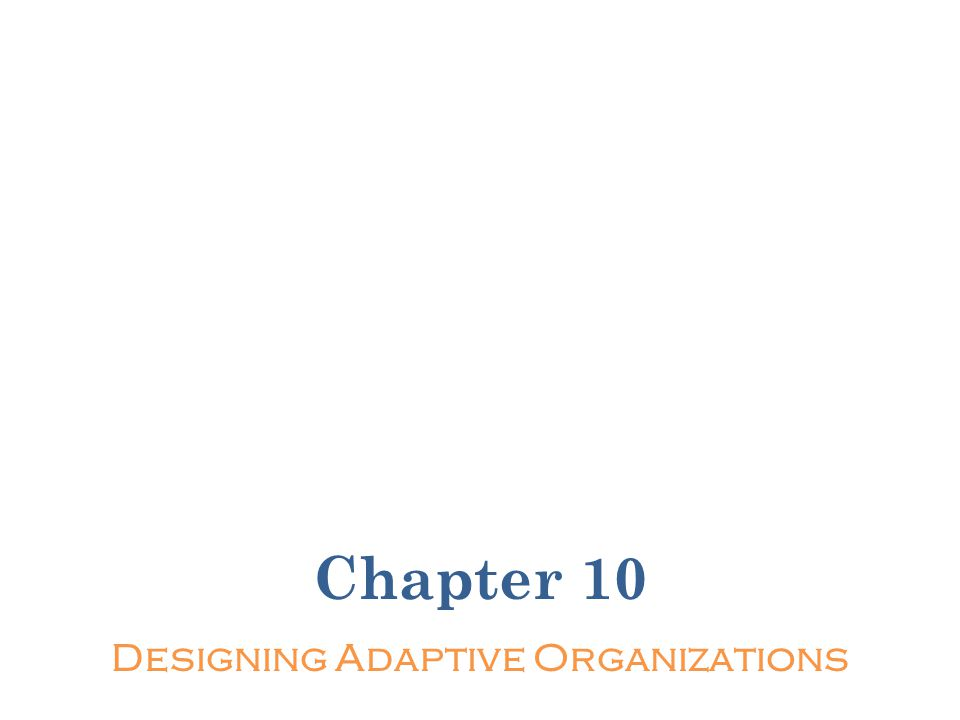 Chapter 10 Designing Adaptive Organizations