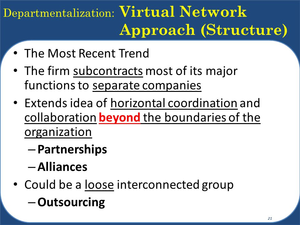 Departmentalization: Virtual Network Approach (Structure) The Most Recent Trend The firm subcontracts most of its major functions to separate companies Extends idea of horizontal coordination and collaboration beyond the boundaries of the organization – Partnerships – Alliances Could be a loose interconnected group – Outsourcing 21