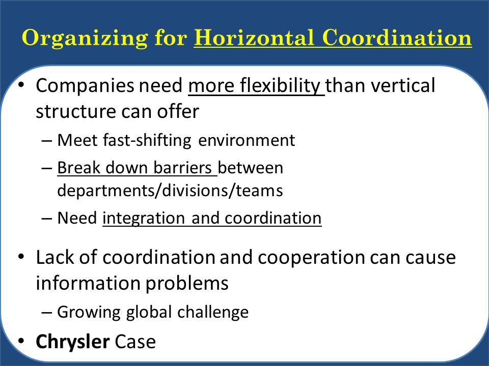 Organizing for Horizontal Coordination Companies need more flexibility than vertical structure can offer – Meet fast-shifting environment – Break down