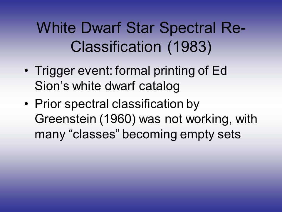 White Dwarf Star Spectral Re- Classification (1983) Trigger event: formal printing of Ed Sion's white dwarf catalog Prior spectral classification by Greenstein (1960) was not working, with many classes becoming empty sets