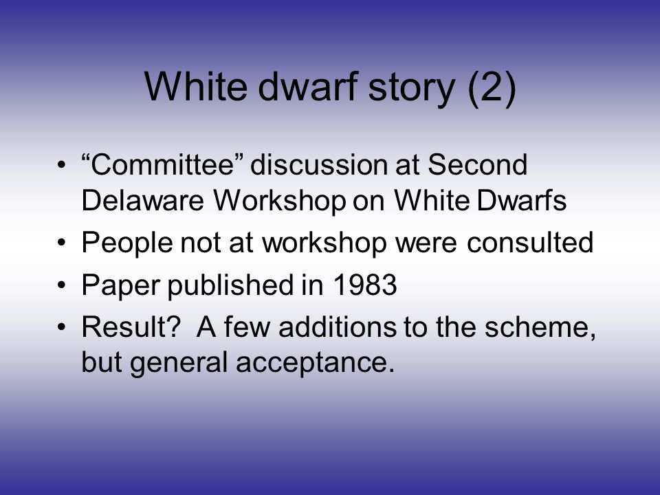 White dwarf story (2) Committee discussion at Second Delaware Workshop on White Dwarfs People not at workshop were consulted Paper published in 1983 Result.