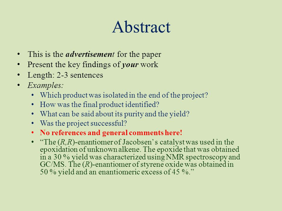 Abstract This is the advertisement for the paper Present the key findings of your work Length: 2-3 sentences Examples: Which product was isolated in t