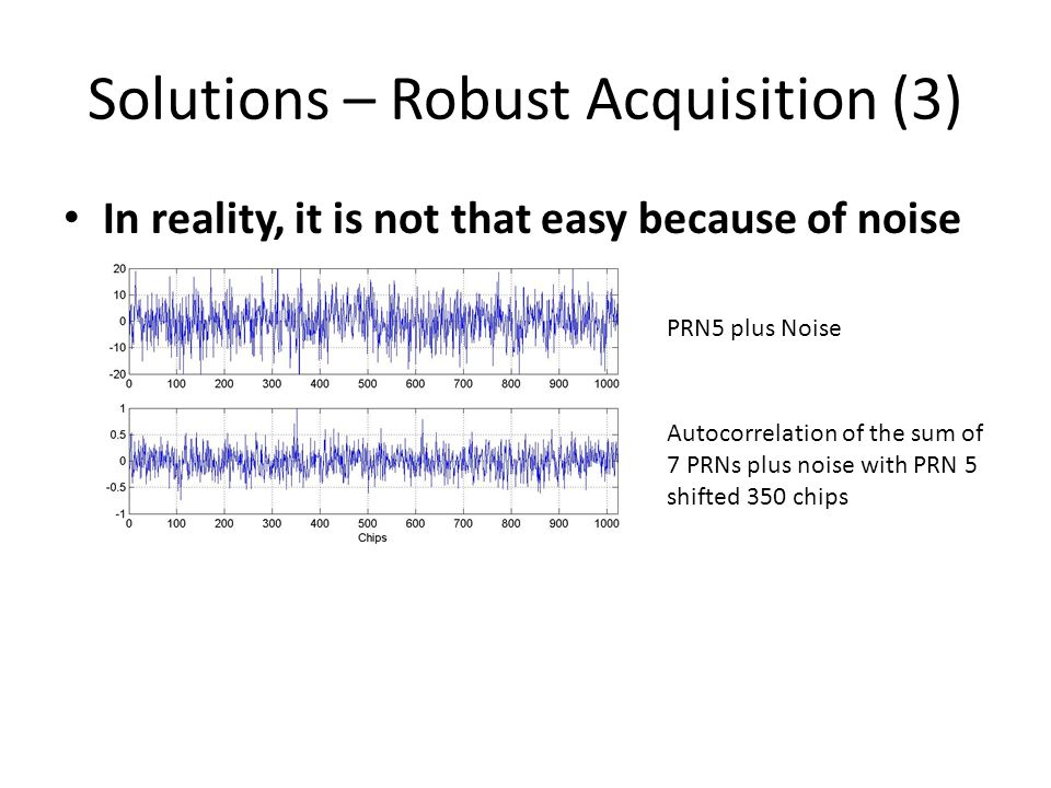 Solutions – Robust Acquisition (3) In reality, it is not that easy because of noise PRN5 plus Noise Autocorrelation of the sum of 7 PRNs plus noise with PRN 5 shifted 350 chips