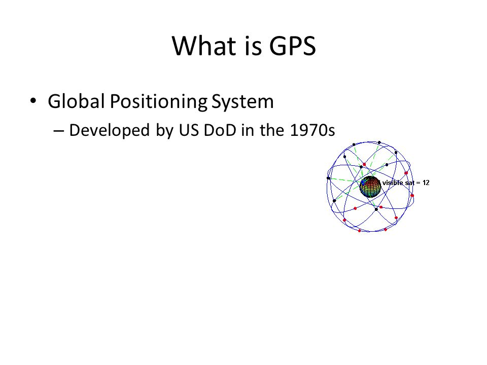 What is GPS Global Positioning System – Developed by US DoD in the 1970s