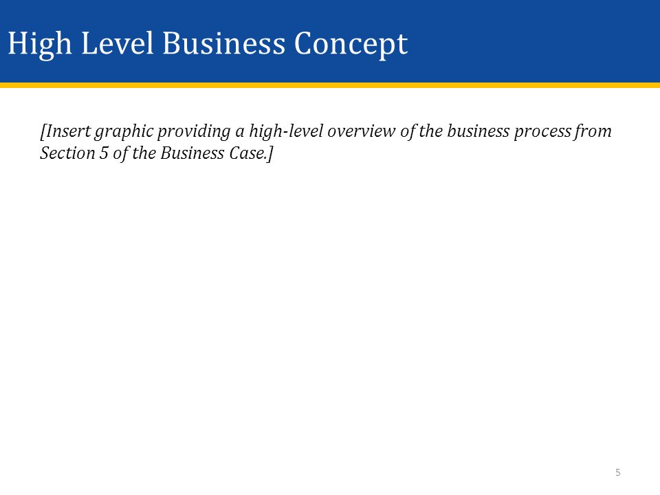High Level Business Concept [Insert graphic providing a high-level overview of the business process from Section 5 of the Business Case.] 5