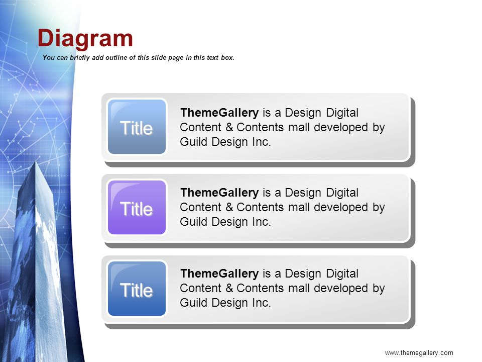 www.themegallery.com Diagram You can briefly add outline of this slide page in this text box. Title ThemeGallery is a Design Digital Content & Content
