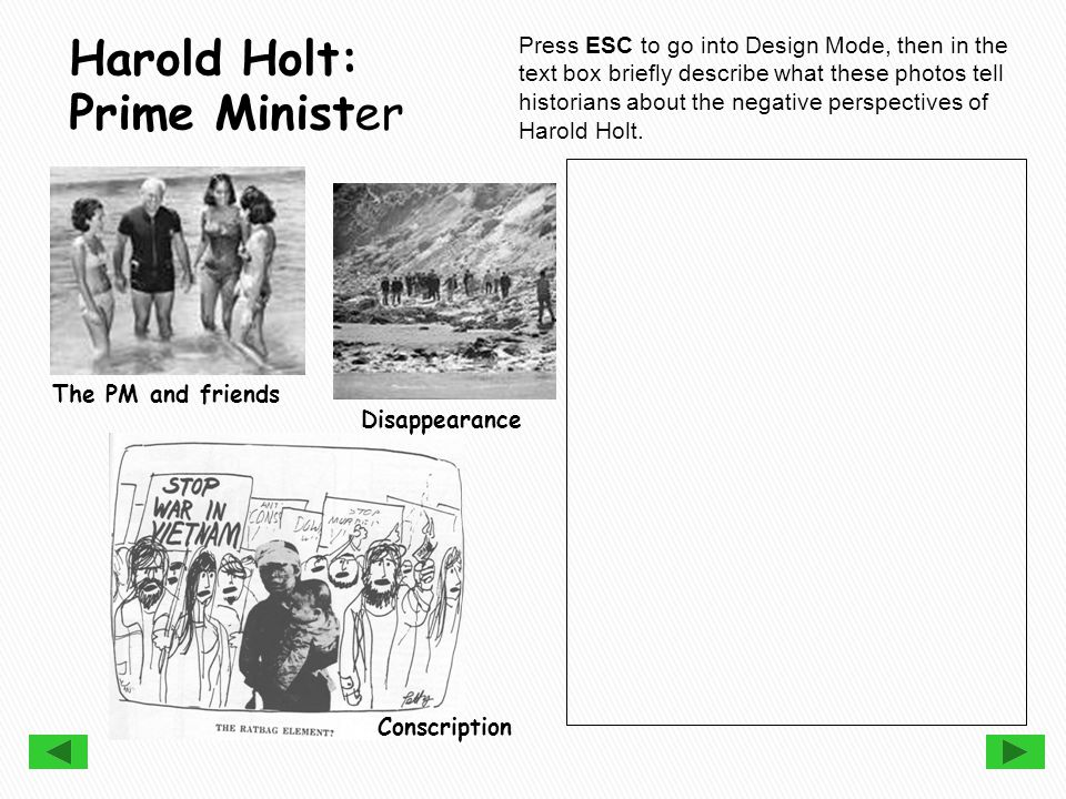 Press ESC to go into Design Mode, then in the text box briefly describe what these photos tell historians about the negative perspectives of Harold Holt.
