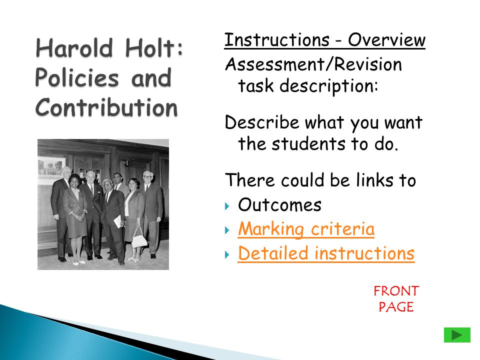 Instructions - Overview Assessment/Revision task description: Describe what you want the students to do.