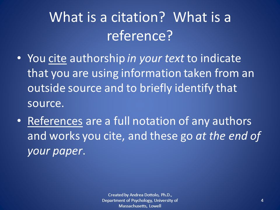What is a citation. What is a reference.