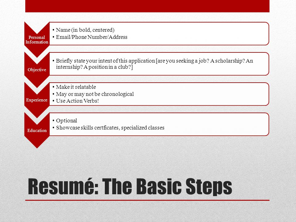 Resumé: The Basic Steps Personal Information Name (in bold, centered) Email/Phone Number/Address Objective Briefly state your intent of this application [are you seeking a job.