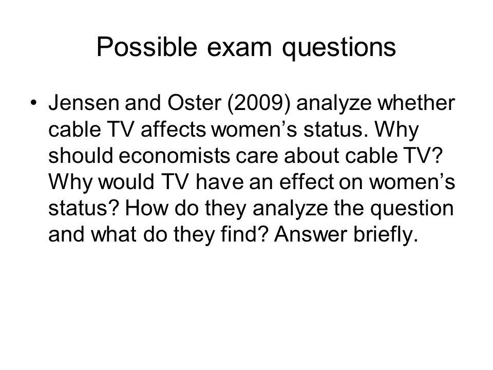 Possible exam questions Beaman et al.