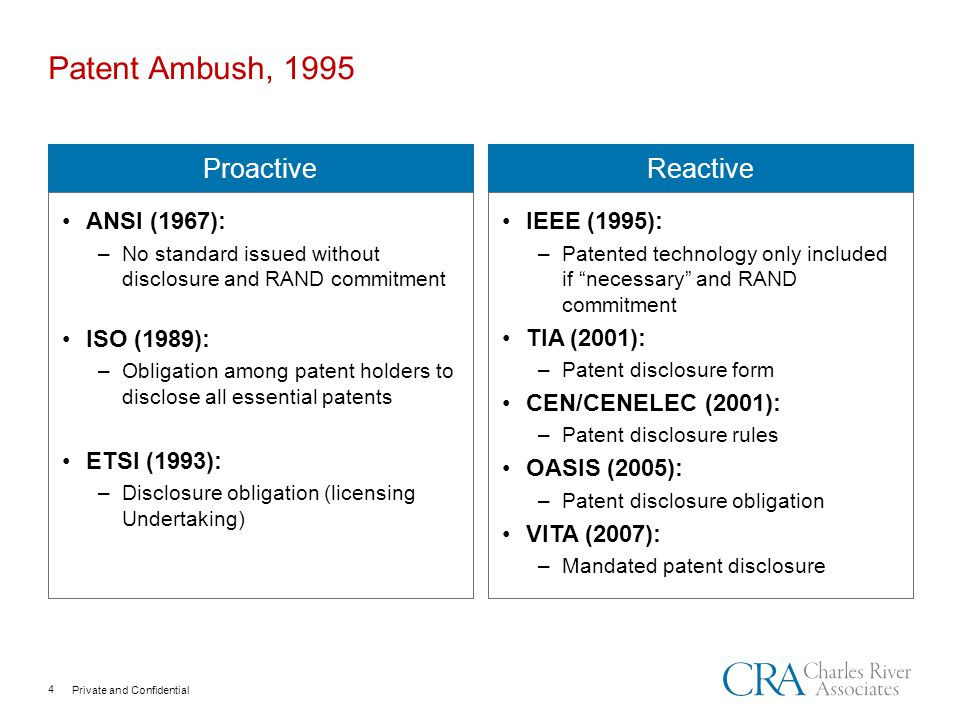 Private and Confidential Patent Ambush, 1995 Proactive ANSI (1967): –No standard issued without disclosure and RAND commitment ISO (1989): –Obligation among patent holders to disclose all essential patents ETSI (1993): –Disclosure obligation (licensing Undertaking) Reactive IEEE (1995): –Patented technology only included if necessary and RAND commitment TIA (2001): –Patent disclosure form CEN/CENELEC (2001): –Patent disclosure rules OASIS (2005): –Patent disclosure obligation VITA (2007): –Mandated patent disclosure 4