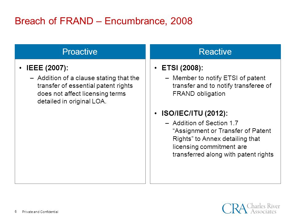 Private and Confidential Breach of FRAND – Encumbrance, 2008 Proactive IEEE (2007): –Addition of a clause stating that the transfer of essential patent rights does not affect licensing terms detailed in original LOA.