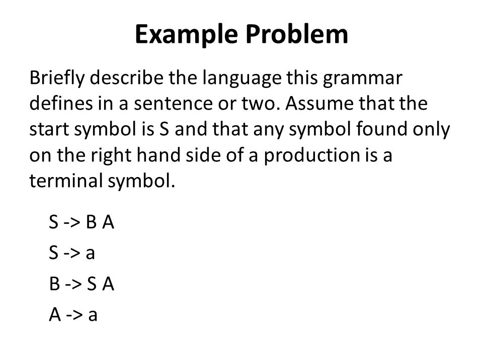 Example Problem Briefly describe the language this grammar defines in a sentence or two. Assume that the start symbol is S and that any symbol found o