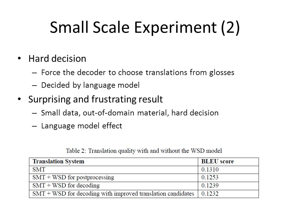 Small Scale Experiment (2) Hard decision – Force the decoder to choose translations from glosses – Decided by language model Surprising and frustrating result – Small data, out-of-domain material, hard decision – Language model effect