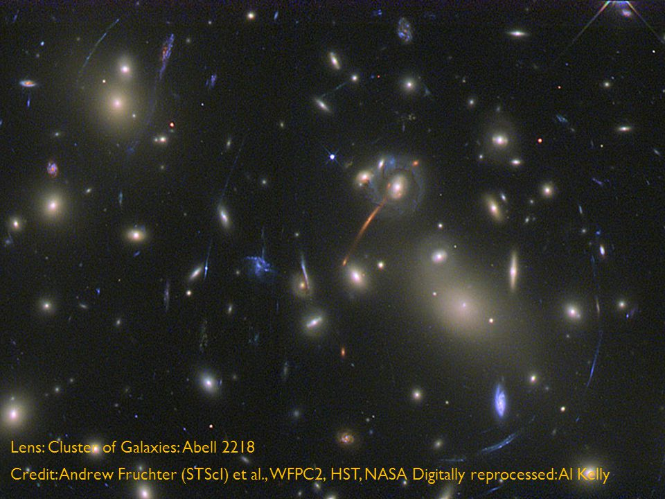 Lens: Cluster of Galaxies: Abell 2218 Credit: Andrew Fruchter (STScI) et al., WFPC2, HST, NASA Digitally reprocessed: Al Kelly