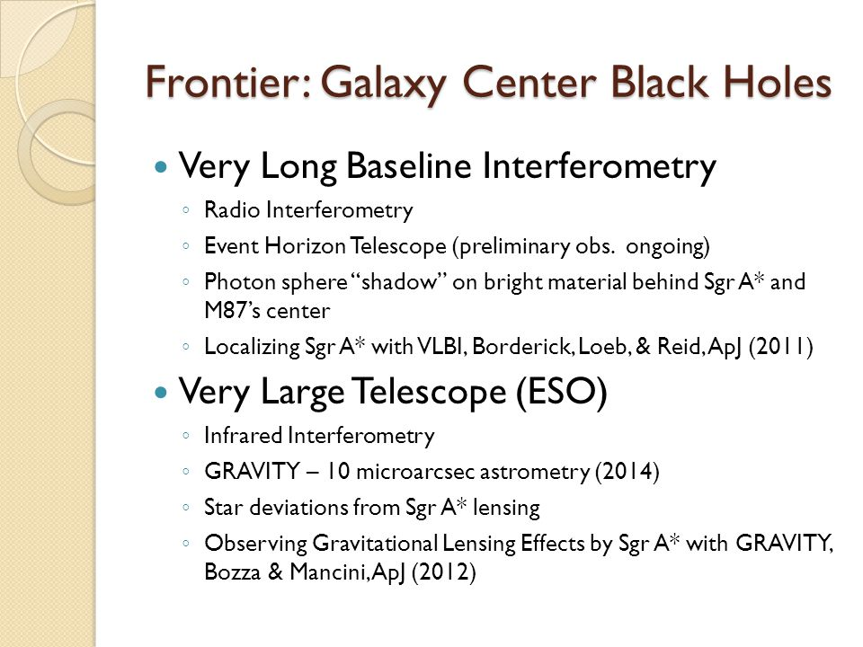 Frontier: Galaxy Center Black Holes Very Long Baseline Interferometry ◦ Radio Interferometry ◦ Event Horizon Telescope (preliminary obs.
